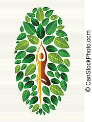 India yoga leaf tree - Yoga exercise human leaf tree design...