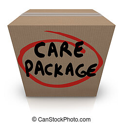Care Package Cardboard Box Words Support Emergency Aid