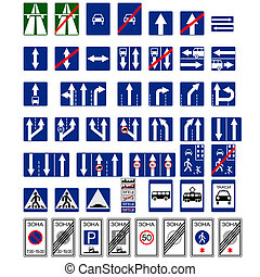 Informative signs - Set of traffic signs. The illustration...