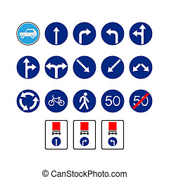 Mandatory signs - Set of traffic signs The illustration on a...