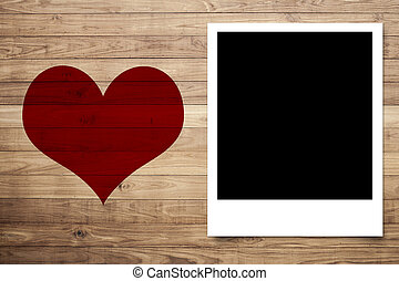 Love heart and Photo frame on Brown wood plank wall texture...