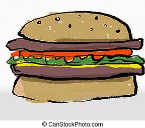 Hamburger - A child like drawing of a hamburger