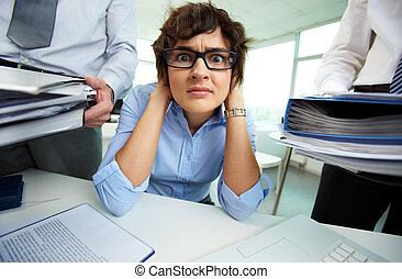 Accounting reports period - Terrified secretary touching her...