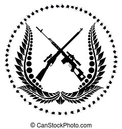 Sniper rifles-1 - Icon with sniper rifles. The illustration...