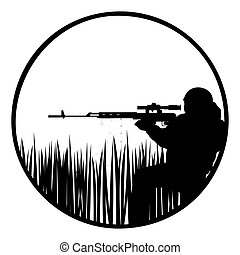 Sniper - The contour of a sniper with a sniper rifle The...