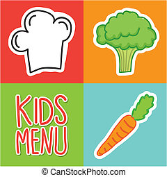 kids menu over colorful background vector illustration