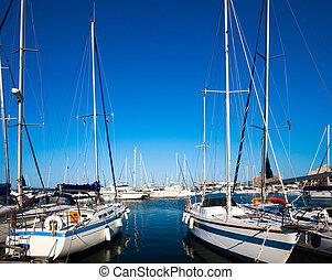 Sea Port .  boats in harbor. Boats bow in marina