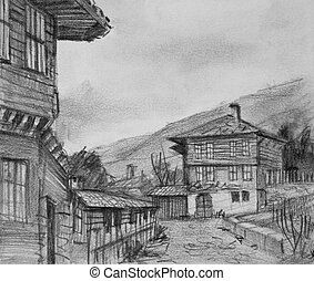 Drawing of Traditional Old Houses in Kotel - Pencil black...