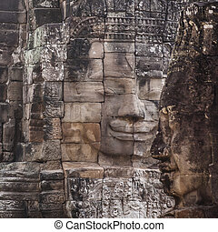 Bayon face Angkor Thom, Siem Reap, Cambodia