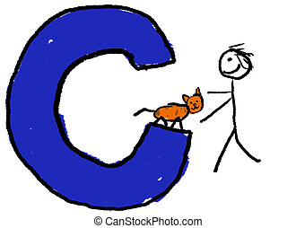 Letter C - A childlike drawing of the letter C, with a stick...