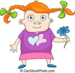 Todler Girl Isolated on White Background Vector Illustration...