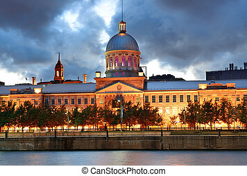 Bonsecours Market at sunset on street in Old Montreal in...