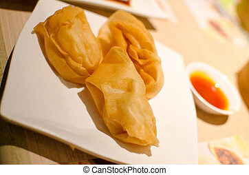 Deep fried wonton with shrimp , Dim Sum - Deep fried wonton...