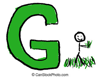 Letter G - A childlike drawing of the letter G, with a stick...