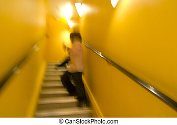Stairway Abstract - An abstract image of a person in a...