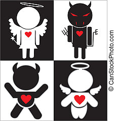 Black white Angel and Devil icons