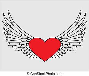 Coração, voando, isolado