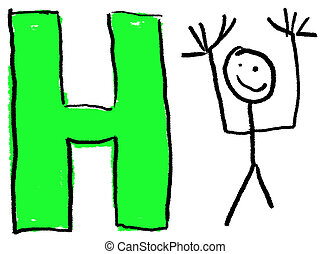 Letter H - A childlike drawing of the letter H, with a stick...