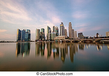 Singapore city skyline view of business district