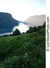 Evening Fjord View - Fjord in western Norway as the sun goes...