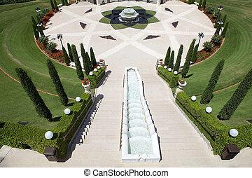 Haifa Bahai garden - Bahai garden entrance gate at the...