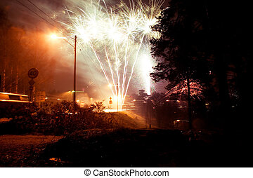 Rural Fireworks - Fire works going off in a dangerious...