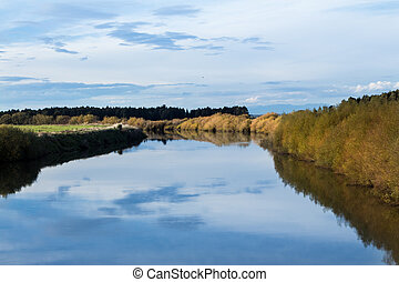 Stillness Manawatu River - Looking up stream of the wide and...