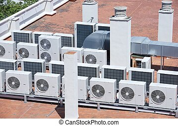air conditioning - view on the roof of a building of a large...