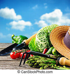 Fresh organic vegetables and garden tools in outdoor setting
