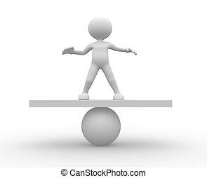 Equilibrium - 3d people - man, person in equilibrium on a...
