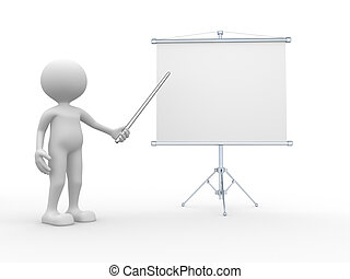 Flipchart - 3d people - man, person presenting at a...