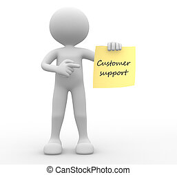 Customer support - 3d people - man, person with a paper...