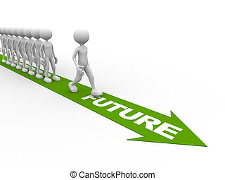 Future - 3d people - man, person with a arrow and word...