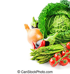 Fresh organic vegetables isolated over white