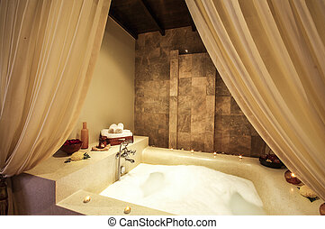 Asian style jacuzzi in spa room