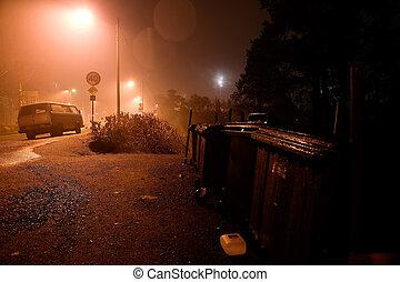 Neighborhood Mood - A dark moody image of a neighborhood.