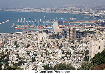 Haifa city view with the harbour and Mediterranean sea in...