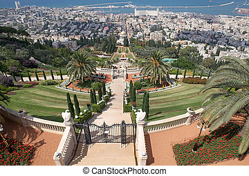 Haifa city view from the top of the hill with Bahai garden,...