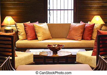 Living Room Asian Vintage Style