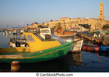 Acre Akko Port Israel - ACRE, ISR - OCT 07:Fishing boats in...