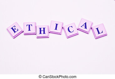 Ethical spelled out in colored blocks