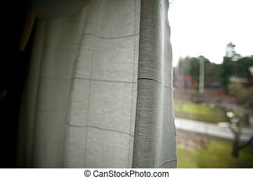 Recluse - A person peering out behind window curtains - A...