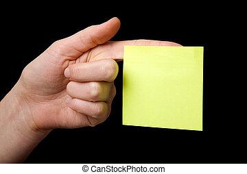 Sticky Note on Hand