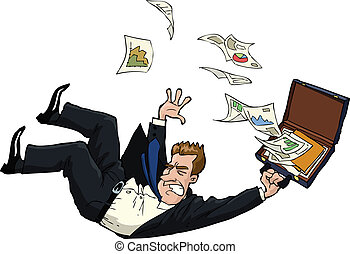 The falling man with documents vector illustration