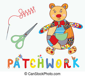 Patchwork background with teddy bear, needle and label cartoon