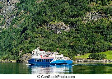 Sognefjord Norway - Cruise ship on Sognefjord near Gudvangen...