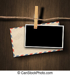 old photo and clothes peg - old photo and envelope and...