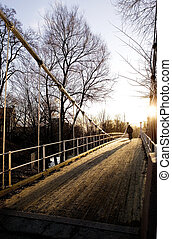 Suspension Bridge on Sunny Day - A beautiful day with the...