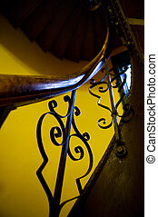 Antique Stairwell Railing - An abstract image of an old...