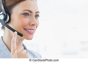 Happy call centre agent smiling